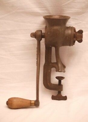 Old Vintage Puritan Meat Grinder w Wooden Handle Kitchen Utensil Tool Made USA
