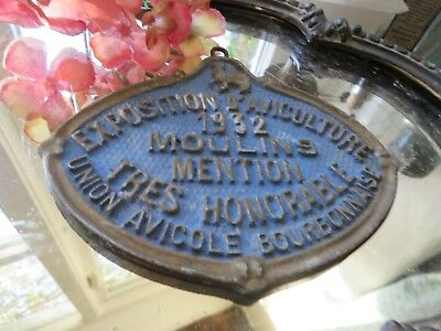 Quirky Vtg. French Agricultural Award Plaque ~ Exposition D' Aviculture  *1932*