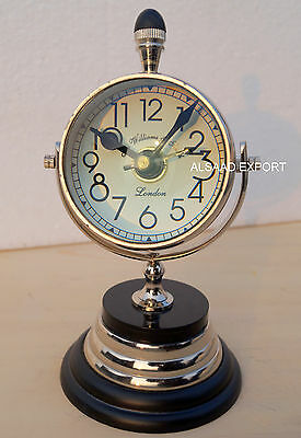 Antique Brass Nautical Clock Trophy Style Double Vintage Sided With Wooden Base