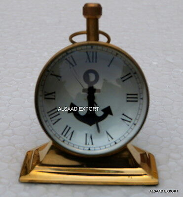 Antique Brass Nautical Vintage Maritme Anchor Dail Clock Trophy Style Watch Gift