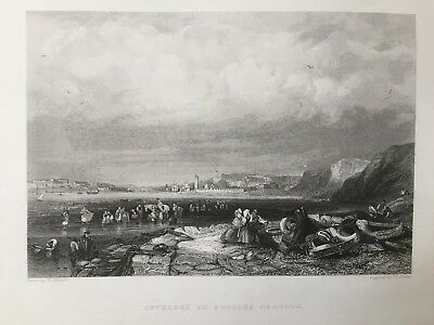 1841 Antique Print; Entrance to Shields Harbour, Tyneside