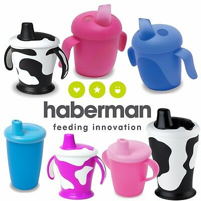 Haberman Cup Sippy Beaker Cow Bird No Spill Leak Proof Handles