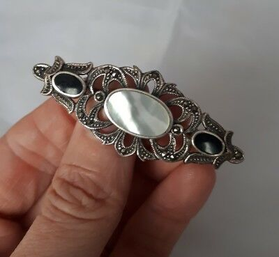 Vintage Sterling Silver Black Stone Marcasite Mother Of Pearl Ornate Brooch 925