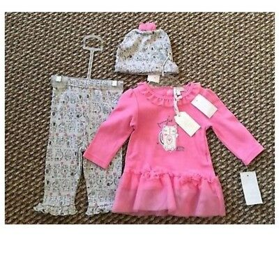 BNWT Baby Girls Dress Style Top, Leggings And Hat Kitty 3-6 Months