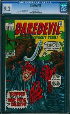 Daredevil # 66   Trapped in the Tar Pits of Death !  CGC 9.2 scarce book !