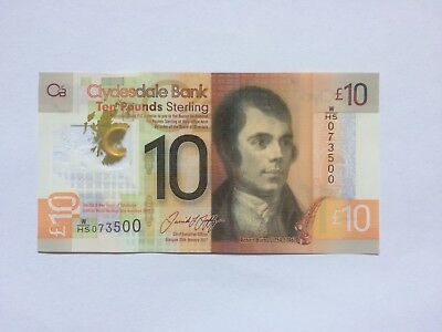 Preferred W/hs Robert Burns Clydesdale Bank £10 Uncirculated  Polymer Bank Note