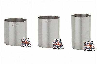Stainless Steel Thimble Spirit Bar Measures 3 Piece Bundle  - 25Ml, 35Ml, 50Ml