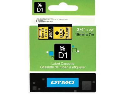 "Dymo 45808 Black on Yellow D1 Label Tape 0.75"" Width x 23 ft Length - 1 Each - P"