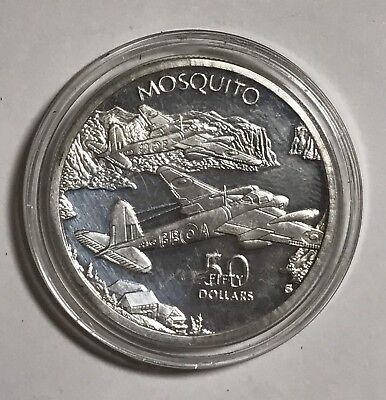 Marshall Islands Fifty Dollars 1991 Mosquito Silver