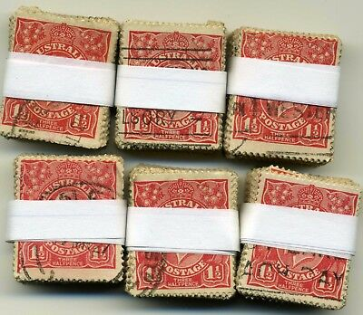 Australian KGV Three Halfpenc Red Sgl Wmk Bundles 100 x 6