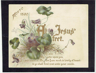 Victorian Christmas Greetings Card Religious Text  Motto For 1890