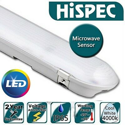 Hispec 2x 26W IP65 Non Corrosive 5ft Tube LED Light Microwave Motion Sensor PIR