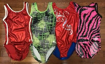 Lot of 4-GK K Bee Motionwear Snowflake Gymnastic Leotard sz Adult Medium AM EUC