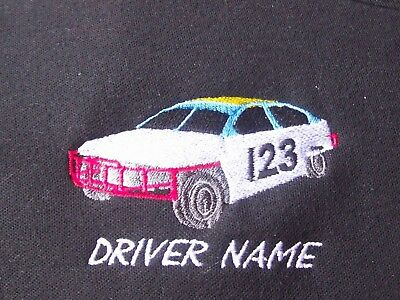 Personalised embroidered logo of either a 2L National Saloon or 1300 stock car.