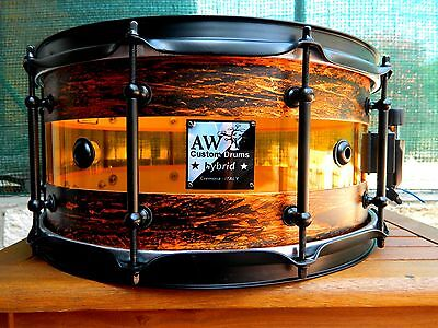 "Snare Drum Hybrid 14""x7"" Acrylic Amber"