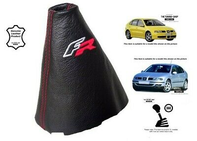"""For Seat Leon MK1 1999-05 Gear Gaiter Black Leather """"FR"""" Embroidery"""