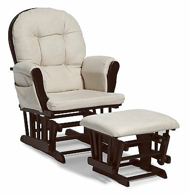 Stork Craft Hoop Glider and Ottoman Set  Espresso / Beige