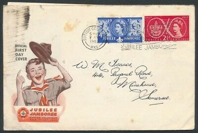 Great Britain Stamp Jamboree set 2 values FDC Cover 1957 WS245059