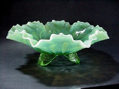 Jefferson Meander Carnival Glass Green Opalescent Footed Bowl Ruffled Rim 1906