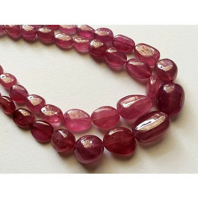 "8"" Strand 141 Carat Ruby Beads, Tumble Beads, Glass Filled Ruby Beads"