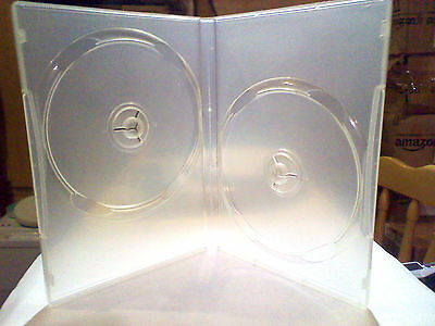 6x cases CD DVD 14mm Clear DVD Double Case's for 2 Discs with clear cover sleeve