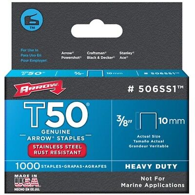 Arrow T50 Stainless Steel Staples 3/8""