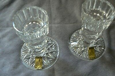 "Gorgeous Pair of Vintage "" Castle "" 24% Pbo Handcut Lead Crystal Candle Holders"