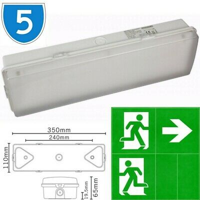 5x Slimline LED Bulkhead Maintained Non Emergency Fire Exit IP65 3hrs Light 3w