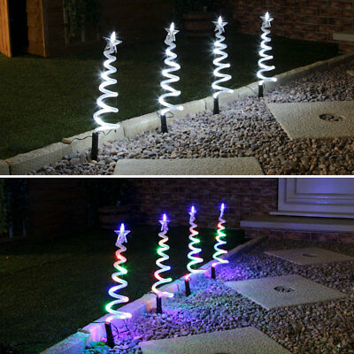 Set Of 4 Outdoor Garden Lawn Path Christmas Spiral Tree Led Light Decorations