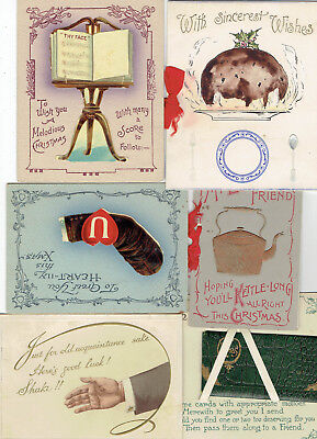 6 x VINTAGE & VICTORIAN CHRISTMAS GREETINGS CARDS NOVELTY COMIC