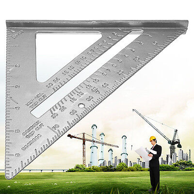 "7"" Aluminum Ruler Speed Square Protractor Carpenter Miter Frame Measuring Tool"