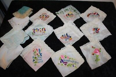 Vintage Wwi Era Souvenir De France Embroidered Silk Handkerchief Hanky Lot