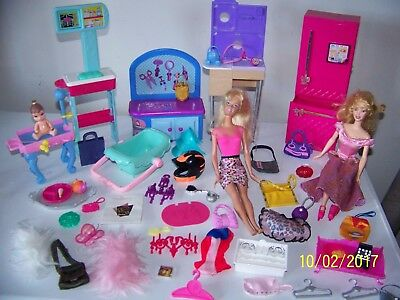 Barbie Furniture Accessories Dolls Baby Lot 50 + pieces