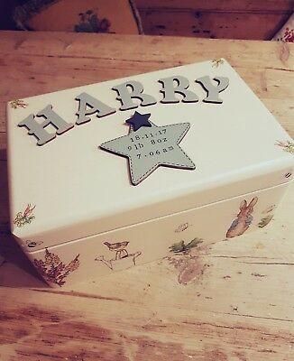 ♡PERSONALISED LARGE KEEPSAKE MEMORY BOX Beatrix Potter Inspired with Heart♡