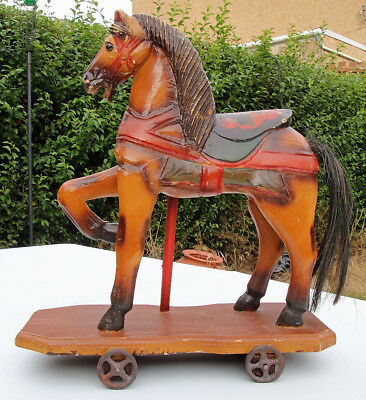 Wooden Horse on Wheels (not Steiff) 40cm tall.  Early 1900's?