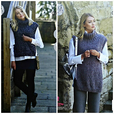 KNITTING PATTERN Ladies EASY KNIT Polo Neck Tabards Indulge Chunky 4862