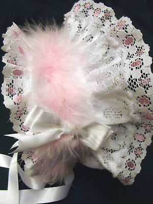 DREAM BABY WHITE PINK FRILLY  LINED BONNET NB 0-3 3-6 6-12 months REBORN DOLLS