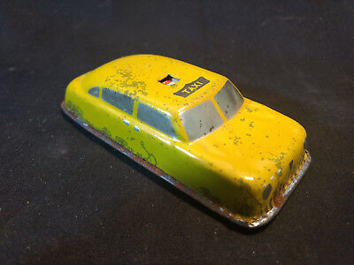 Old Vtg Antique Collectible Argo Tin Friction? Yellow Taxi Cab Car Toy