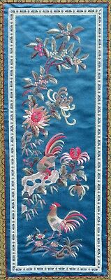 60 X 28 cm Chinese Silk Embroidery Textile Rooster Rock Garden