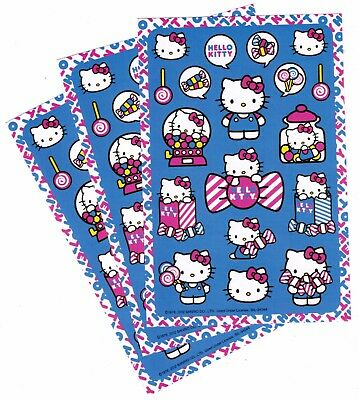 SANRIO Hello Kitty Stickers!  3 Sheets BLUE Bows Lollipop Candy Sweets