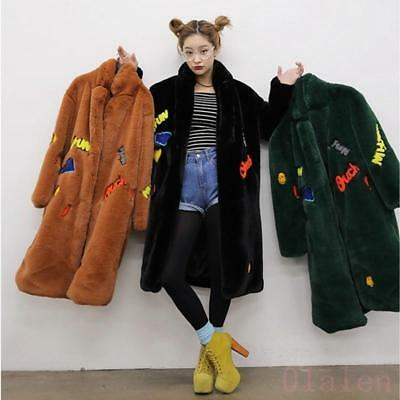 Hot Womens 17 Faux Fur Coat Winter Warm Long Lapel Jacket Loose Fit Outwear Coat