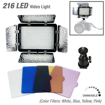216 LED Compact Barn Door Video Light 4 Color Filters Portable Continuous Light