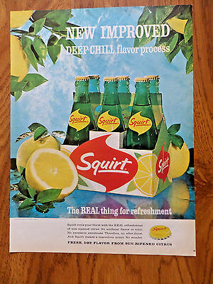 1964 Squirt Soda  Pop Ad    New Improved 6 Pack Carton