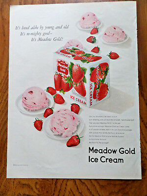 1950 Meadow Gold Ice Cream Ad Strawberry