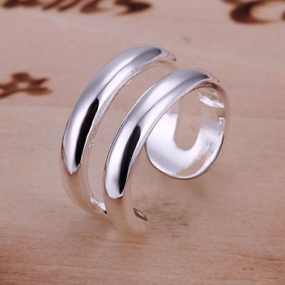 -UK- New Silver Plated Open Double Line Adjustable Line Ring -Gift Bag