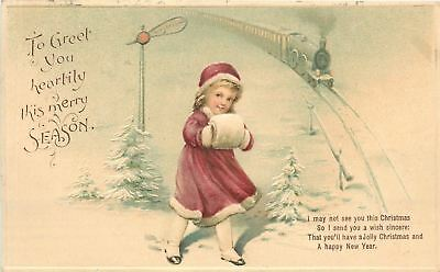 Christmas~Victorian Lil Girl~Fur Muff~Waits for Train in Snow~Semiphore~Emboss