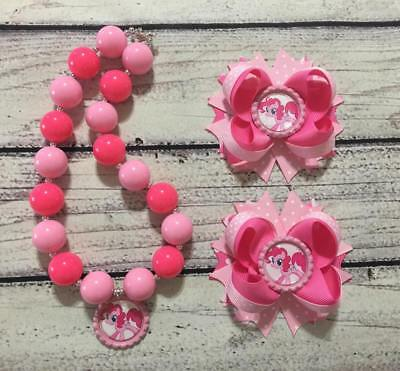 Pinkie Pie Pig Tail Hair Bows/Shoes Topper Bows & Chunky Bead Necklace Set