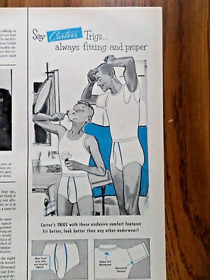 1953 Carter's Trigs Underwear Ad Father Son Son Shaving for the 1st Time