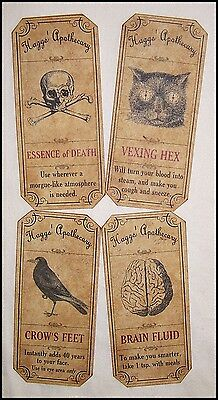 SET of 12 VINTAGE LOOK APOTHECARY Potion Ingredient LABELS Halloween/Primitive