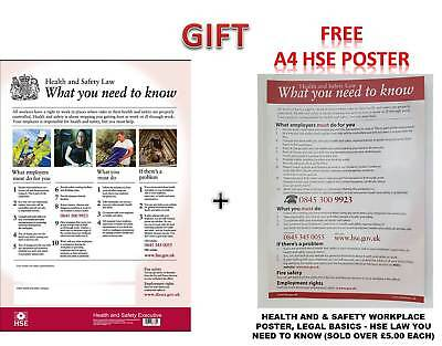HSE Health And Safety Law Poster A2 - Latest Version 350 GSM Thickness